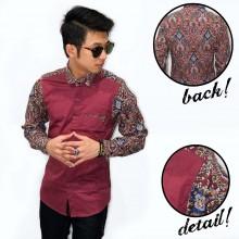 Kemeja Combination Batik Abstract Colorful Maroon