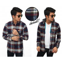Kemeja Flannel Hooded Ancient Tartan Navy