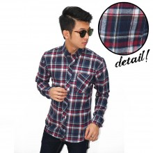 Kemeja Flannel Plaid Tartan Navy