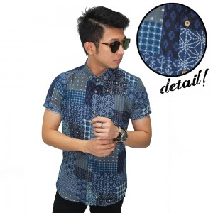 Kemeja Short Batik Perca Casual Navy