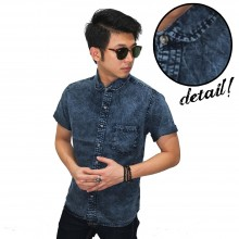 Kemeja Short Denim Stone Wash Black Faded