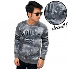 Sweatshirt House Smoke Printing Grey