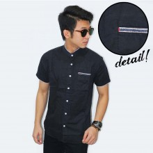 Kemeja Shanghai Short Ribbon List Black