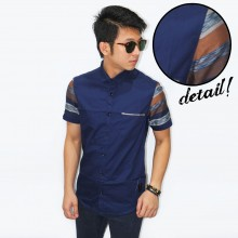 Kemeja Short Sleeve Colorful Big Stripe Navy