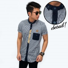 Kemeja Short Gingham Check With List Navy