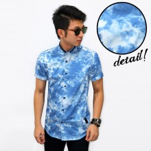 Kemeja Short Smoke Print Blue
