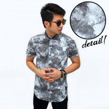 Kemeja Short Smoke Print Grey