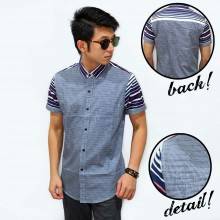 Kemeja Short Square Sleeve Stripe Blue