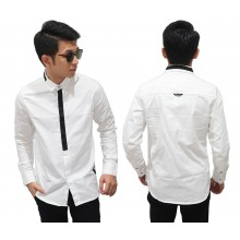 Kemeja Formal Fake Tie White