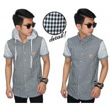 Kemeja Pendek Hooded Checkered Black