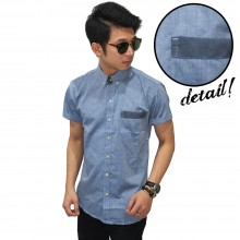 Kemeja Pendek Oxford Pocket Stripe Blue