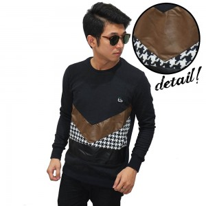 Sweater Mixing Fabric And Motif Black