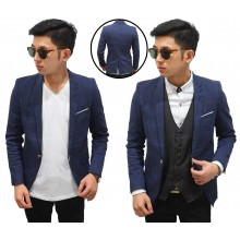 Blazer Casual Leaf Emboss Navy