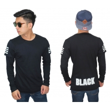 Double Layer T-Shirt Arm Flag Black
