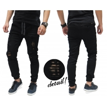 Jogger Pants Jeans Ripped Black