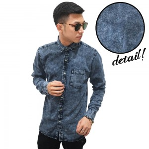 Kemeja Denim Panjang Snow Washing