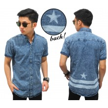 Kemeja Pendek Denim Back Star Stripe Blue