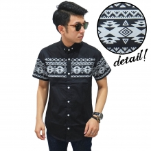 Kemeja Pendek Middle Block Tribal Layer Black