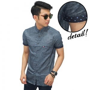 Kemeja Pendek Oxford Dots List Grey