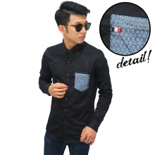 Kemeja Pocket Diamond Motif Black