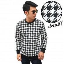 Sweatshirt Houndstooth Pattern White
