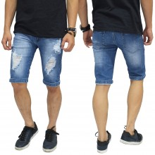 Celana Pendek Denim Ripped Destroyed