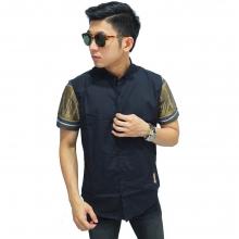 Kemeja Pendek Kombinasi Lengan Batik Songket Black