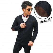 Cardigan 5 Button With Elbow Black
