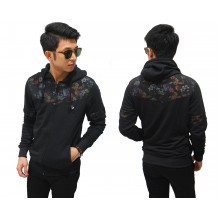 Jacket Hoodie Half Block Floral Vector Black