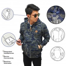 Jacket Hoodie With Earphone Army Navy