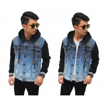Jaket Denim Button Hoodie And Sleeve Black