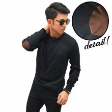 Knit Sweater Three Button Black