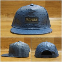 Topi Snapback Leather Homies New York Navy