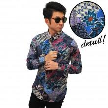Kemeja Batik Mixed Motif Blue