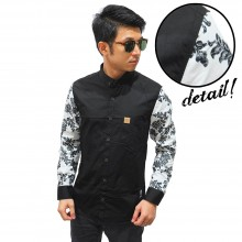 Kemeja Black Sleeve Floral Vector