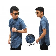 Kemeja Denim Longline Stone Wash Blue