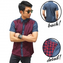 Kemeja Denim Pendek Checkered Square