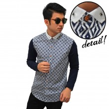 Kemeja Diamond Webbing Pattern Navy