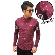 Kemeja Dots Pattern Sleeve Knit Maroon