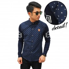 Kemeja Dots Pattern Sleeve Knit Navy
