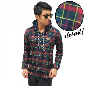 Kemeja Flanel Hooded Tartan Green