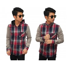 Kemeja Flanel Hooded Tartan Red