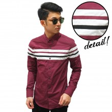 Kemeja Middle Block Stripe Maroon