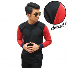 Two Tone Black Sleeve Red Tee