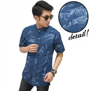 Kemeja Denim Pendek Spotting Splash