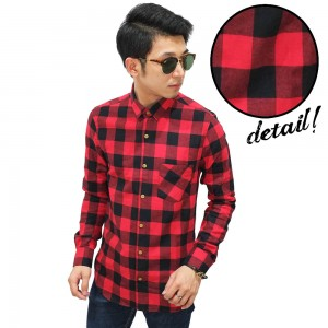 Kemeja Flanel Tartan Square Black And Red