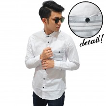 Kemeja Panjang Pocket Stripe White