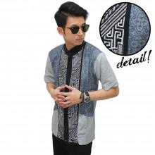 Baju Koko Pendek Elegant Bordir Soft Grey