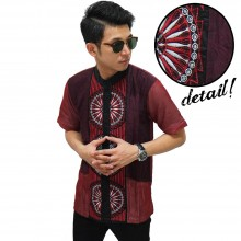 Baju Koko Pendek Three Circle Maroon