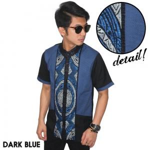 Baju Koko Pendek Modern Two Tone Dark Blue